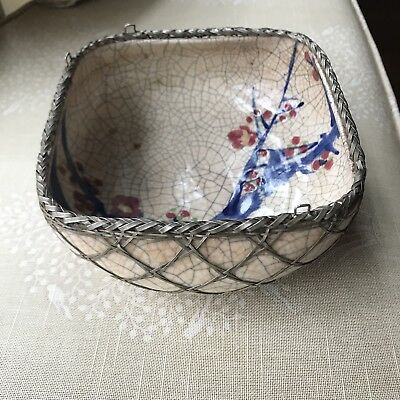 Japanese Meiji Art Pottery Vase with Silver Basket Weave Overlay  c. 1920
