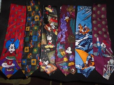 Disney Unlimited Mickey Mouse Pluto Pooh Neck ties Lot Of 5 Used 1 still NWT!