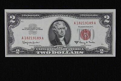 $2 1963A CU Red Seal US Note A18219189A  two dollar, series A, FREE SHIPPING