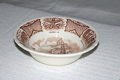 "Alfred Meakin FAIR WINDS Brown England 8 5/8"" Round Vegetable Serving Bowl"