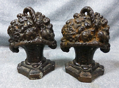 """Antique """"Small Basket of Flowers"""" Cast Iron Book Ends"""