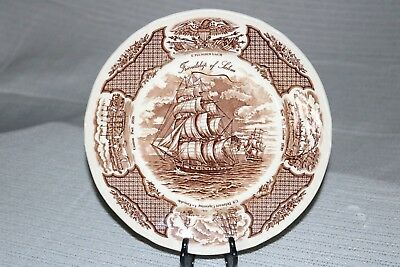 "Alfred Meakin FAIR WINDS Brown England 10 5/8"" Dinner Plates (2)"