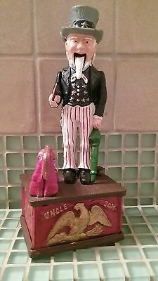 Vintage Uncle Sam Cast Iron Mechanical Coin Bank ~ *Collectible Bank Works Good*