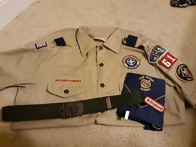 Mens Cub Scout Den Leader Uniform Shirt Neckerchief And Belt Size Medium