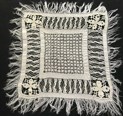 """Antique Miniature Hand Made Tenerife & Exceptional Drownwork  Doily 7 1/2""""SQ"""