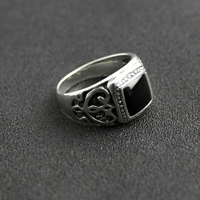 Natural Black Onyx Sterling Silver 925 Handmade Stone Mens Ring Gothic