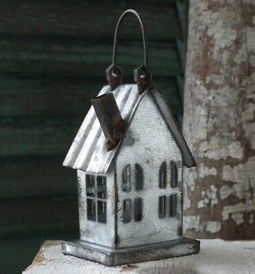~LA MAISON~ Galvanized Tin ~HOUSE ORNAMENT~ Aged & Distressed ~ NWT!