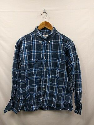 Mens Vintage Navy Blue White Plaid Check Casual Shirt Size L Large #4O2