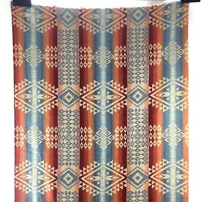 Pendleton Woolen Mills Western Native Blanket Fabric Remnant Blue Red Orange C6B