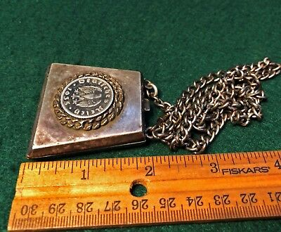 Vintage German 2 Coins WW2,Silver color Trapezium Coin Holder,Purse,Chain,