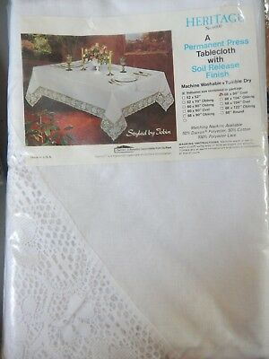 """VTG New Tobin Tablecloth """"Heritage"""" #6000 White 68 x 90"""" Oval 50/50 USA Made"""