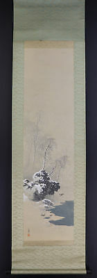 "JAPANESE HANGING SCROLL ART Painting ""Winter Scenery"" Asian antique  #E4876"