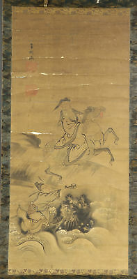 "JAPANESE HANGING SCROLL ART Painting ""Chinese hermits"" Asian antique  #E4879"