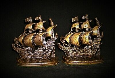 Vintage BOOKENDS...A GALLEON IN THE TIME OF ELIZABETH...CA.1925