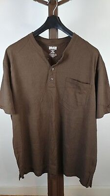 Duluth Trading Co. Men's Longtail T Henley Short Sleeve Shirt w/ pock Brown 3XL