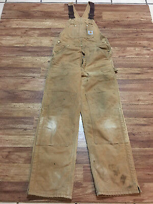 MENS 32 x 32 - Carhartt R02 Duck Double Knee Quilted Lined Work Overall Bib USA