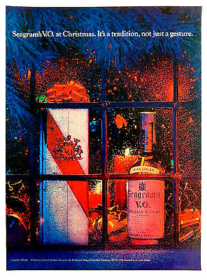 Vintage 1968 Seagram's Canadian Whisky Christmas advertisement print ad art