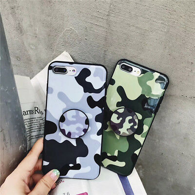 Case For iPhone 6 7 Plus XR X Camo Geometry Soft TPU Cover Shell W Pop Up Holder
