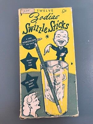 Vintage Zodiac Horoscope Beverage Cocktail Swizzle Stir Sticks 12 w/Original Box