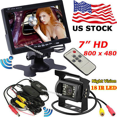 """Wireless IR Parking Backup Rear View Camera+7"""" LCD Monitor for RV Truck Trailer"""