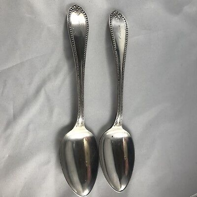 Large American Coin Silver Dinner Spoons 1860 Bailey Co George Sharp GSH1 Beaded
