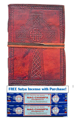 """Celtic Cross Leather Journal Book of Shadows 5"""" x 7"""""""