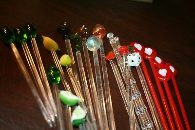 Vintage Glass Asstd. Drink Stirrers Swizzlesticks Large Lot of 23 mixed stirrers