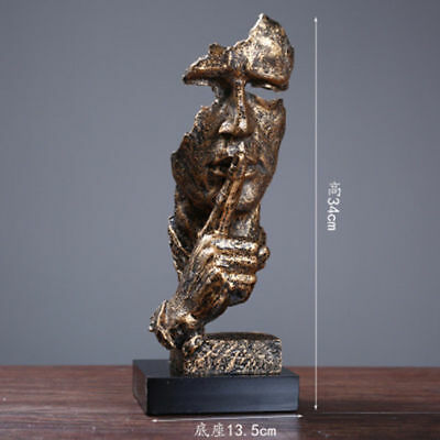 13 inches Arts statue Abstract human face sculpture Keep Silence & free shipping