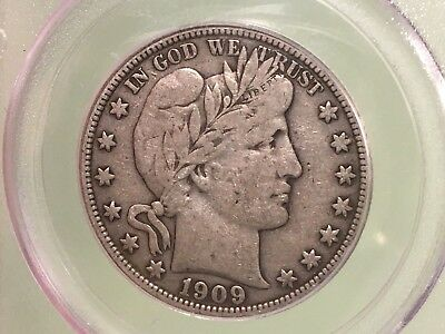 1909-P Barber Half Dollar PCGS VF20 Silver Coin Toned 50C