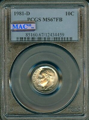 1981-D Roosevelt Dime Grade MS67FB by PCGS MAC .. ..