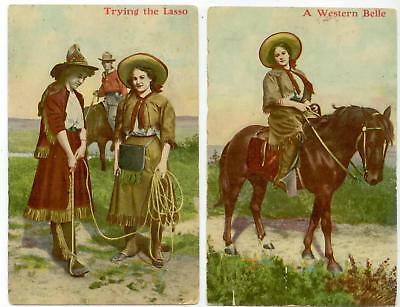 1909 Western cowgirl postcards - A Western Belle - Trying the Lasso