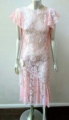 VINTAGE LACE SHEER DROP WAIST CREAM SIDE BOW FLUTTER SLEEVES LAYERING DRESS sz M