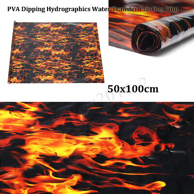 PVA Hydrographic Film Water Transfer Printing Film Hydro Dip Black Flame Fiber /