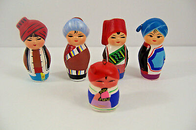 Vintage Chinese Doll Set of 5 Asian Miniatures Wood School Project Doll House
