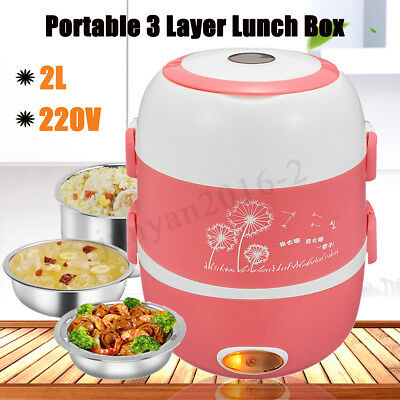 Portable 3 Layers 2L Electric Lunch Box Steamer Pot Rice Cooker Stainless