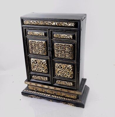 China Chinese Wood Carved Cabinet with Gilded Wood Panels Decoration ca. 1900