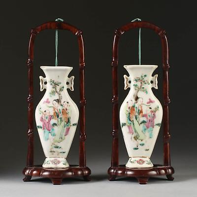 Pair China Chinese Famille Rose Hanging Wall Pocket Vase's w/ Stands 19-20th C.
