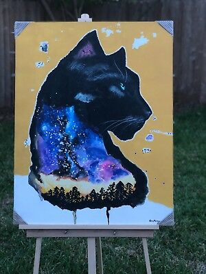"Large 36"" x 28"" Hand Painted Canvas Acrylic Cosmic Black Panther Aspen Aurora"