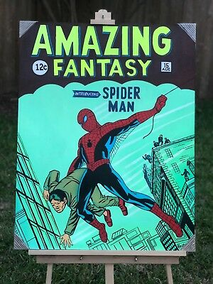 """Large 36"""" x 28"""" Hand Painted Canvas Acrylic The Amazing Spider-man Comic #1 Art"""