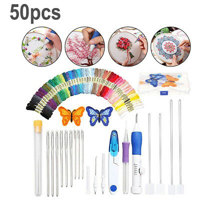 1 Kit Magic DIY Embroidery Pen Knitting Sewing Tool Punch 3 Types Needle Easy