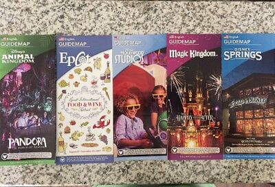 NEW 2017 Walt Disney World Theme Park Guide Maps - 5 Current Maps 10/17