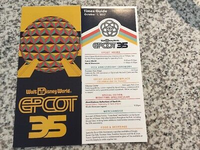 Walt Disney World Epcot 35th Anniversary Park & Guide Map+Times-10/01/2017-New