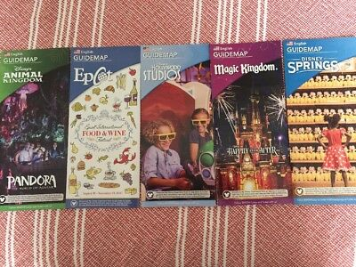 NEW 2017 Walt Disney World Theme Park Guide Maps - 5 Current Maps !!!