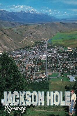 Aerial View of Jackson Hole Wyoming Grand Tetons, Skiing Areas etc WY - Postcard