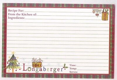 free ship 12 Longaberger Christmas Red Green Check Border Recipe Cards 4 x 6 New