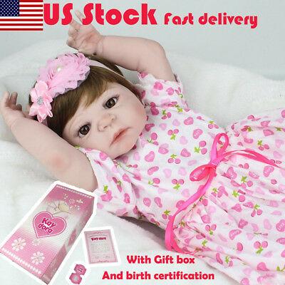 24inch Silicone Reborn Doll Toddler Baby Doll Toys Princess Baby Girl Gift D0H6X