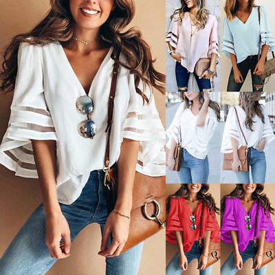 AU Womens Summer V Neck Loose Tops Blouse Ladies Casual T Shirt Baggy Tee 6-16