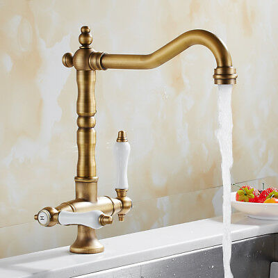 Traditional Kitchen Sink Taps Mixer Twin Lever Monobloc Basin Brass Faucet