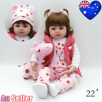 "22"" Newborn Doll Real Lifelike Silicone Reborn Baby Dolls Toddler Girl Xmas Gift"