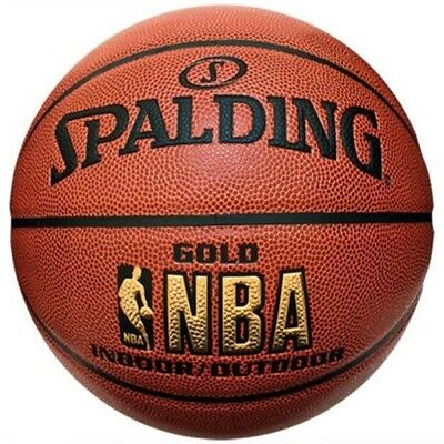 Spalding Gold NBA Indoor / Outdoor Pattern Leather Basketball Size 7 Game Ball
